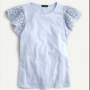 J. Crew Eyelet flutter-sleeve sub t-shirt, XS